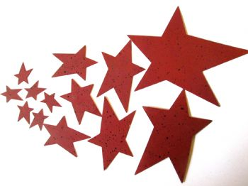 Red Painted metal Stars Choice of size
